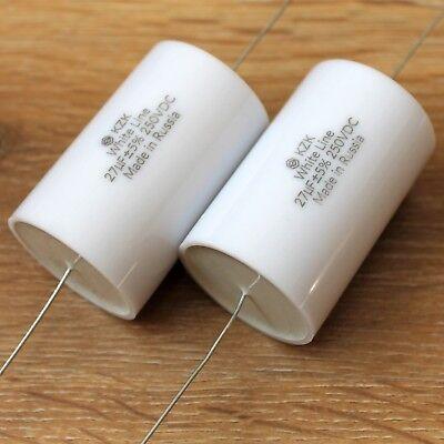 KZK White Line 2pcs 15uF 400V Russian Audio Grade Polypropylene MKP Capacitors