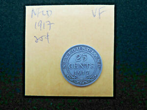 1917-C-25-Cents-Coin-Canada-George-V-Newfoundland-925-Silver-VF-Grade
