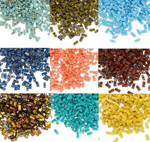100-Miyuki-Half-Tila-Two-Hole-Rectangle-Glass-Beads-5MM-Opaque-amp-Picasso-Colors