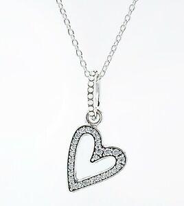 New Authentic Pandora 925 Sparkling Freehand Heart Pendant Necklace 398688c01 Ebay
