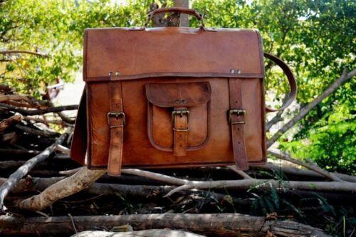 Mens Leather Messenger Laptop Shoulder handmade Briefcase Shoulder Brown Satchel