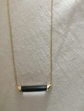 NWT $95 ALEXIS BITTAR Mini Capped Lucite Bar Pendant Necklace Black