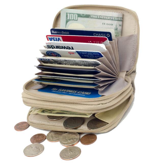 Beige Leather Women Accordion Wallet Credit Business Card ID Holder Zip Around