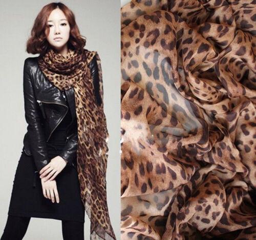 Fashion Women Long Chiffon Scarf Leopard Print Shawl Match /& Suits All Occasion
