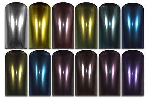 Chrom Effekt Pigment 12 verschiedenen Farben Nail Art Nagel Design Puder Pulver