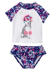 Toddler many Sizes NWT Gymboree Swim shop Flower Rash Guard Set Swimsuit UPF 50