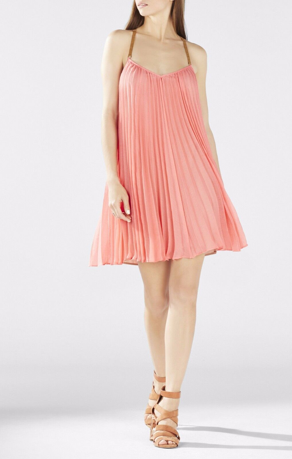 NEW BCBG CORAL CORAL CORAL REEF CAYANNE SLEEVELESS PLEATED DRESS SJG69D51 M634A SIZE M 192615