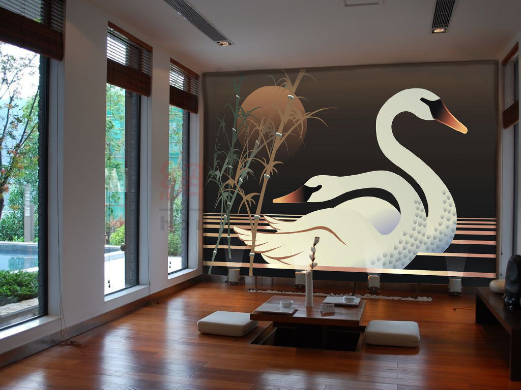 3D Swans Bamboos Pattern 753 Paper Wall Print Wall Decal Wall Deco Indoor Murals