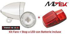 Kit led FARO CROMATO + STOP al parafango con batterie per Bici 20-24-26 Olanda