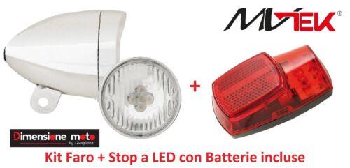 STOP al paraf con batterie per Bici 26-28 R Viaggio bacc Kit led FARO CROMATO
