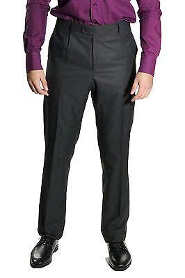 Classico Uomo Pieghe Pantaloni Tg. 26 Grigio Scuro-