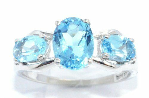 2 Ct Blue Topaz Oval Ring .925 Sterling Silver