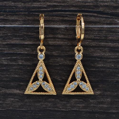 Fashion Femmes Clair Zircone Cubique Zircone Cubique feuilles Triangle Dangle Boucles d/'oreilles Bijoux