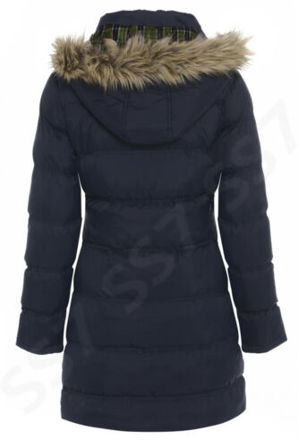 Girls Winter Padded Parka Coat with Hood Navy Age 15//16