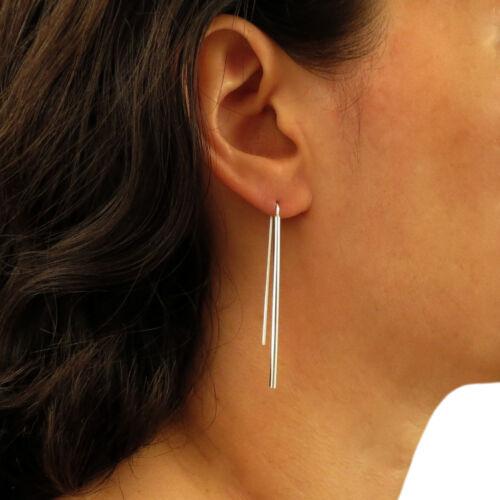 Long 925 Sterling Silver Threader Stick Drop Earrings
