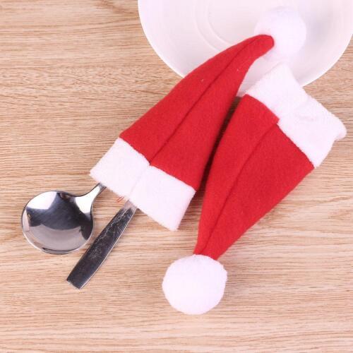 8pcs Small Bags of Christmas Hats Christmas Decoration Tableware Storage Bag