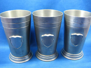 Lot of 3 Antique Solid Heavy German Pewter Cups/Containers Engraved/ Marks