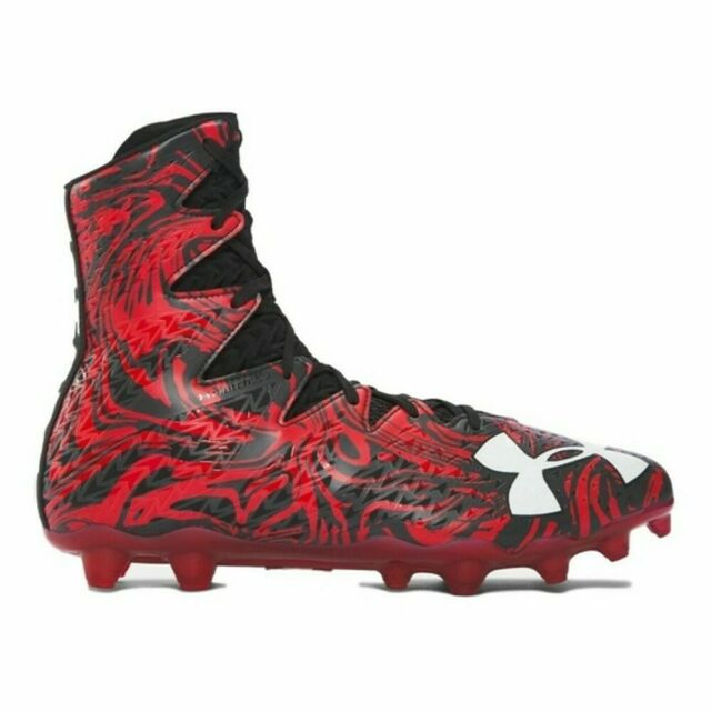 New Mens Under Armour Highlight LUX MC Lacrosse Cleats Black//Red Size 10 Medium