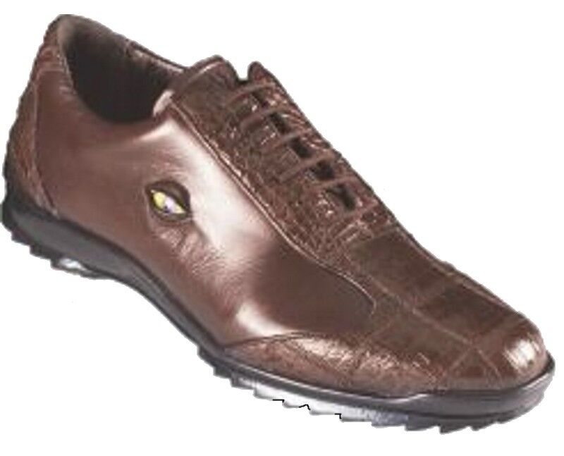 Los Altos Genuine BROWN CROCODILE BELLY Casual Shoe Lace Up Handmade Sneaker EE Scarpe classiche da uomo