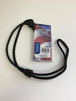 Smart Card Holder With 36 Round Cord Neck Lanyard, Black