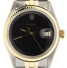 Rolex Datejust Mens 2Tone 14K Gold & Stainless Steel Jubilee w/ Black Dial 1601