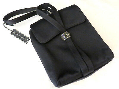 Judith Jack Italy Black Evening Bag Purse Black Silk Satin Marcasite Handbag