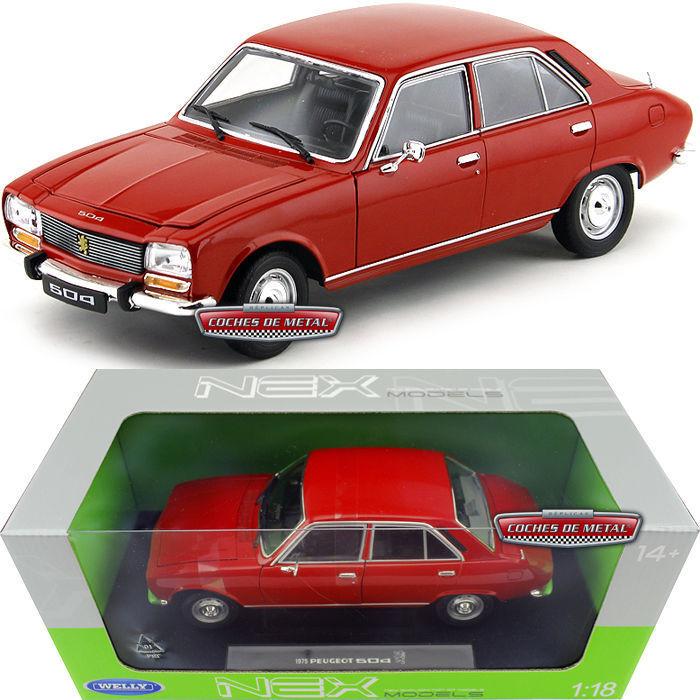 de moda 1 18 Welly Welly Welly Peugeot 504 Sedán 1975 Rojo Rojo -nuevo en Embalaje Original  colores increíbles