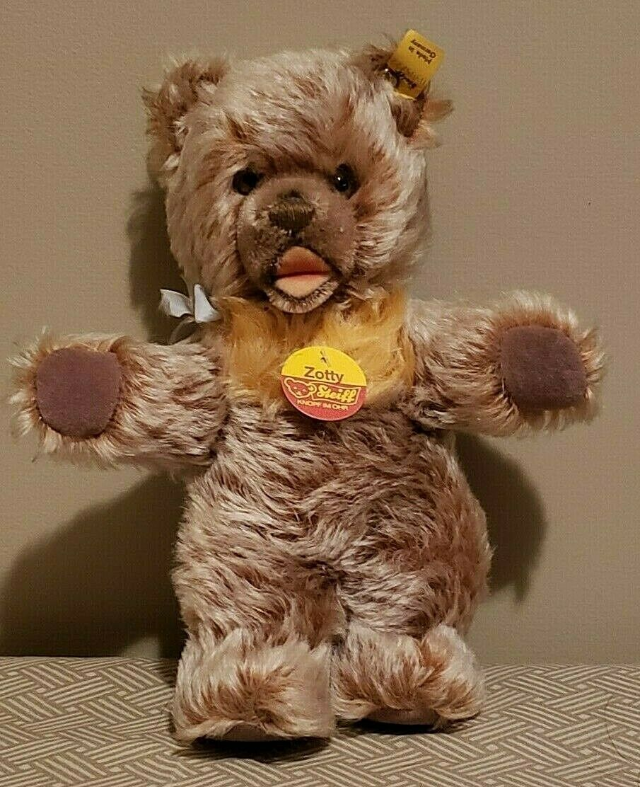 Vintage 9  Steiff Zotty Mohair WIRE Bear - Open Mouth - All Original Tags 0305 2