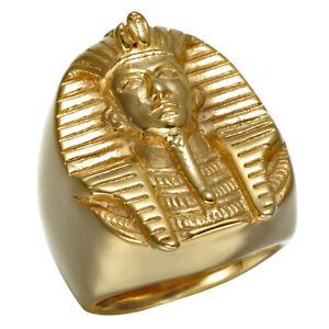 Gold-Plated-Egypt-Pharaoh-Stainless-Steel-Men-039-s-Craft-Ring-M106