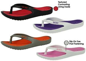 5dfd253436c3 Ladies Eva Toe Post Surf Flip Flop Flat Summer Beach Sandals Shoe ...