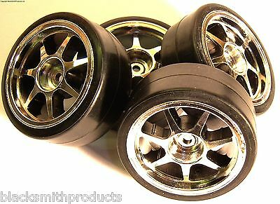 1/10 Scale Drift On Road Car Wheels and Tyres 4 Chrome