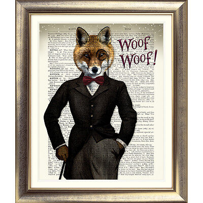 DICTIONARY ART PRINT ON ANTIQUE BOOK PAGE FOX Animal FOXES VINTAGE Steampunk Old