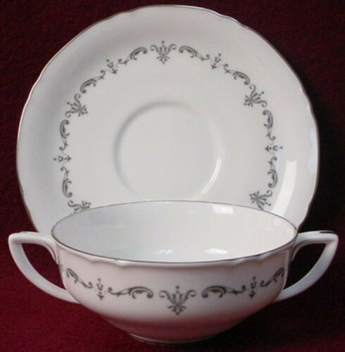 ROYAL WORCESTER china SILVER CHANTILLY pattern Cream Soup Bowl /& Saucer