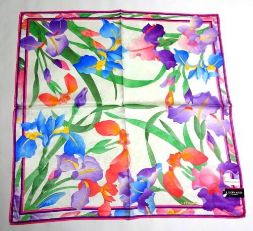 LEONARD Handkerchief scarf bandana Silk Cotton Iris Flower Auth New Collectible