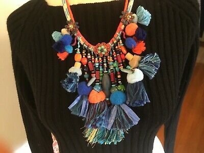 Colorful Tassel Necklace Statement Necklace  Multicolored Fringe Necklace Bib Necklace Boho Tassel Jewelry Unique Chunky Tassel Necklace