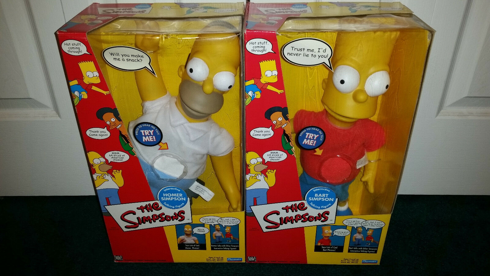 Homer 18  + Bart 16  Interactive Talking Figure The Simpsons Playmates 2000 MISP