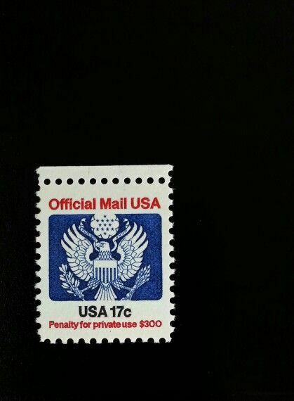 1983 17c Eagle Official Mail USA Red & Blue Scott O130