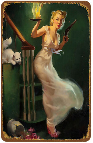 Pretty Girl Retro Vintage Metal Tin Signs Poster Plaque Plate Classic Club Decor