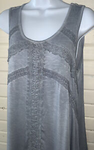 Knox-Rose-Gray-Boho-Tunic-Top-Sz-SMALL-Lace-Detail-Soft-Jersey-Sleeveless-EUC