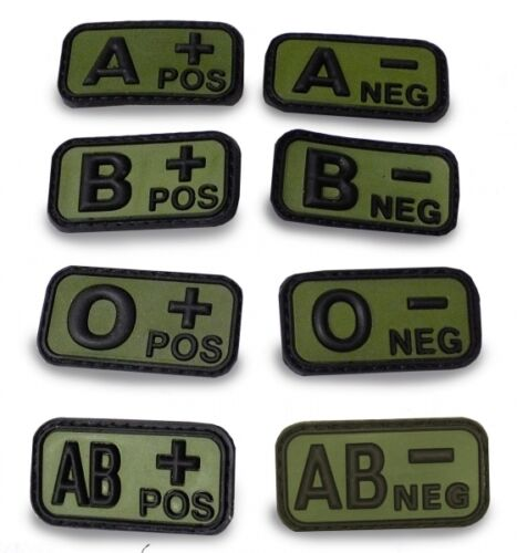 Blutgruppenpatch Abzeichen Blutgruppe Klettabzeichen,3D,Oliv,Army,UK,MTP,OCP,UCP