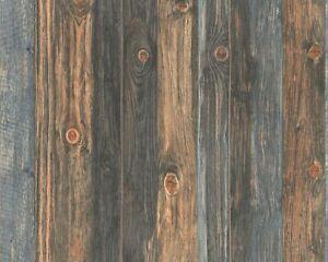 Dark Wood Effect Wallpaper Realistic Wooden Panel Grain Distressed