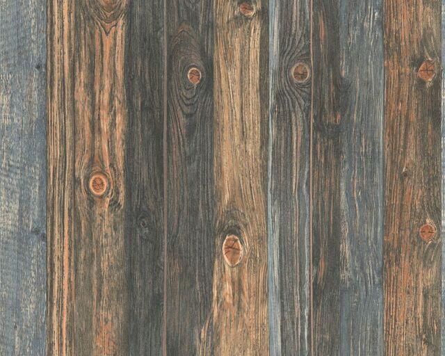 Dark Wood Effect Wallpaper Realistic Wooden Panel Grain Distressed Non-Woven