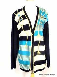 d0524088786 Details about Koret Women's V-Neck Button Front Cardigan Sweater Striped  Navy Teal Nautical Me
