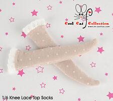 ☆╮Cool Cat╭☆【KS-L64】Blythe/Pullip Knee Lace Top Doll Socks # Point Lotus Root