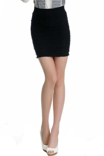 Womens Black Cotton Bodycon Office Pencil Cable Chunky Mini Short Skirt