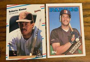 1988-Roberto-Alomar-RC-Topps-Traded-T4-and-Fleer-U-122-Padres