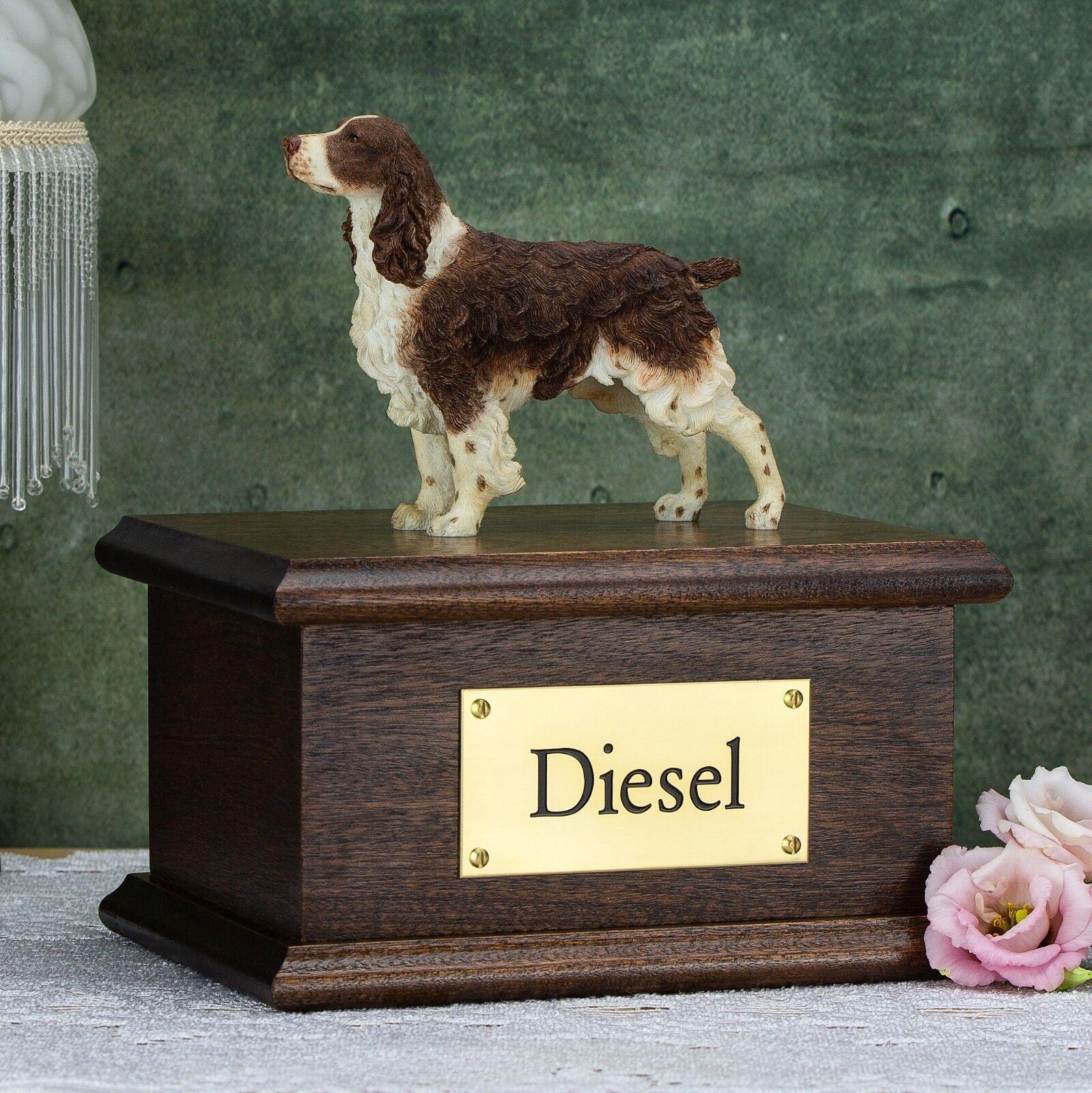Solid Wood Mahogany Dog, English Springer Spaniel, Cremation Urn   Casket