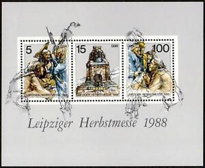 """DDR: MiNr. 3193 - 3195 (Block 95), """"Leipziger Herbstmesse"""", 2 Plattenfehler, pfr"""