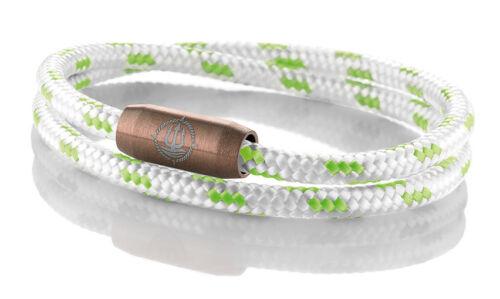 """Seemannsgarn /_ Maritimes Segeltau Armband /""""Rügen/"""" weiß-grün 4mm"""