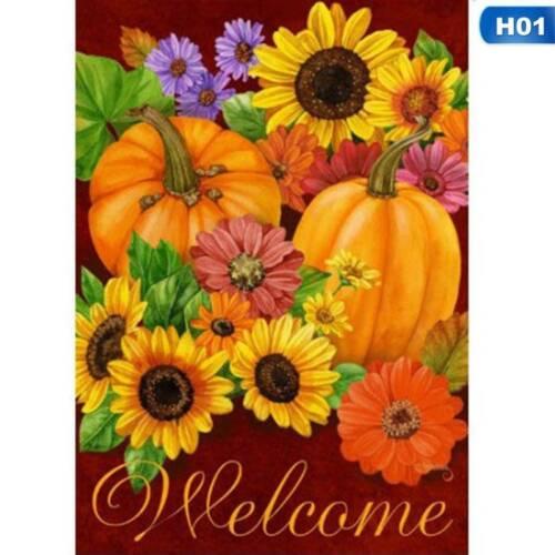 Welcome Fall Glory Floral Garden Flag Pumpkins Sunflowers Autumn Cxz @ami